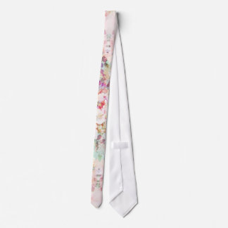 Pink watercolor vintage flowers pattern tie