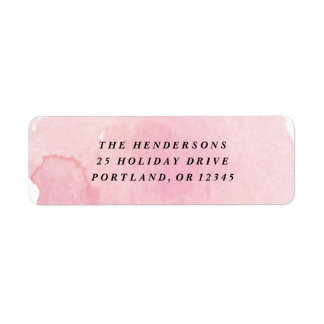 Pink watercolor wash return address label
