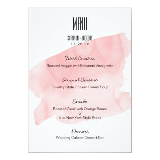 Pink Watercolor Wash Wedding Menu Card
