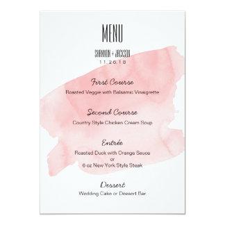 Pink Watercolor Wash Wedding Menu Card
