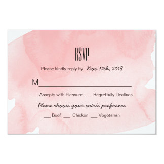 Pink Watercolor Wash Wedding RSVP Card