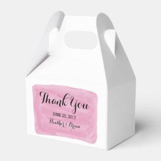 Pink Watercolor Wedding Favor Boxes