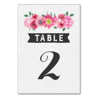 Pink Watercolor Wedding Table Number Cards