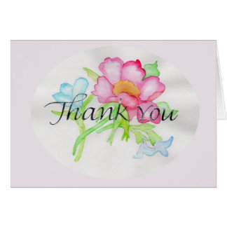 Pink Watercolor Wild Rose Mini Floral Bouquet TY Card