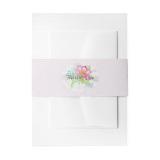 Pink Watercolor Wild Rose Mini Floral Bouquet TY Invitation Belly Band