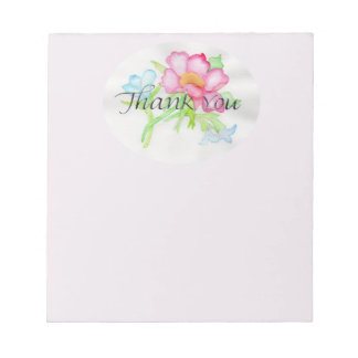 Pink Watercolor Wild Rose Mini Floral Bouquet TY Notepad