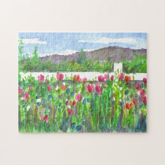 Pink Watercolor Wildflowers Landscape Painting Jigsaw Puzzle