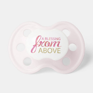 Pink Watercolor  with Gold Glitter Pink Back Pacifiers