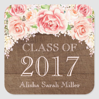 Pink Watercolor Wood Graduation Class of 2017 Square Sticker