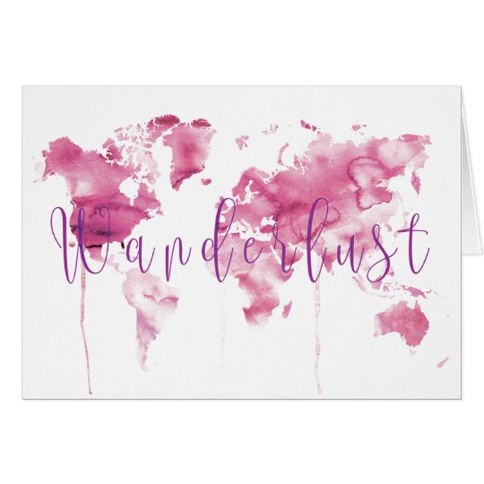 Pink Watercolor World map Card