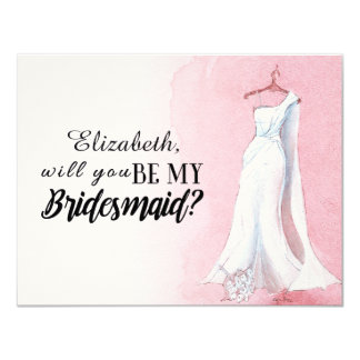 "Pink Watercolour Gown ""Will you be my bridesmaid"" Card"