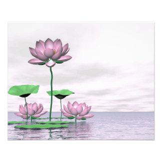 Pink waterlilies and lotus flowers 11.5 cm x 14 cm flyer