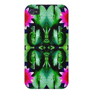Pink Waterlily and Green Leaves Pattern Cover For iPhone 4