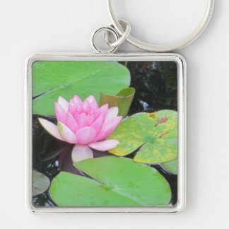 PINK WATERLILY by SHARON SHARPE Silver-Colored Square Key Ring