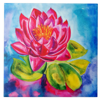 Pink Waterlily design decorative tile