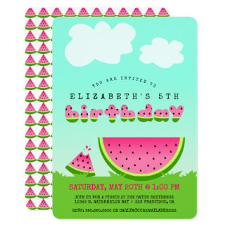 Pink Watermelon Birthday Picnic Party Card