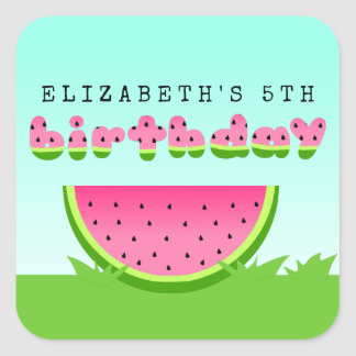 Pink Watermelon Birthday Picnic Party Square Sticker