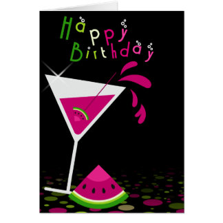 Pink Watermelon Martini Cocktail Greeting Card