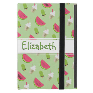 Pink Watermelon on Green Novelty Pattern with Name Case For iPad Mini