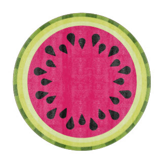 Pink Watermelon Slice Glass Cutting Board