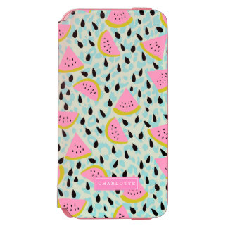 Pink Watermelons Aqua Leopard Print Personalized Incipio Watson™ iPhone 6 Wallet Case