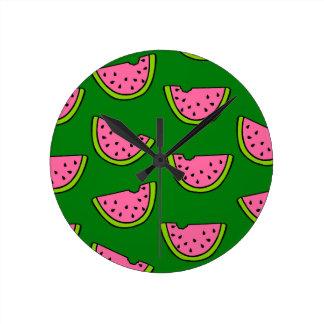 Pink Watermelons Round Clock