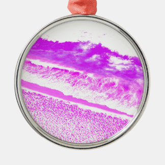 Pink Waves Silver-Colored Round Decoration