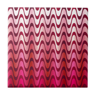 Pink waves small square tile