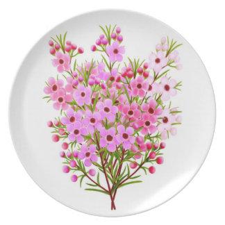 Pink Waxflower Bouquet Plate