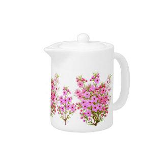Pink Waxflower Bouquet Teapot