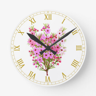 Pink Waxflower Bouquet Wall Clock