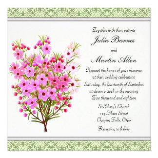 Pink Waxflower Bouquet Wedding Invitation