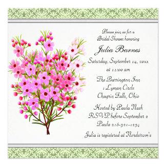 Pink Waxflower Floral Bouquet Bridal Shower Invite