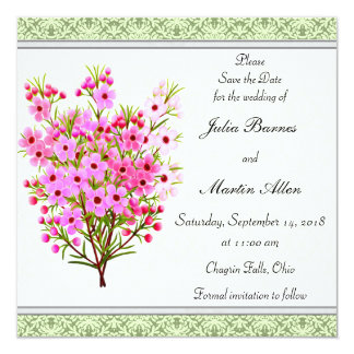 Pink Waxflower Floral Bouquet Save the Date 13 Cm X 13 Cm Square Invitation Card