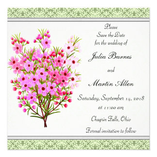 Pink Waxflower Floral Bouquet Save the Date Custom Announcements
