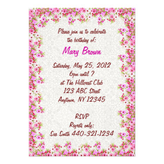 Pink Waxflowers Customizable Party Invitation