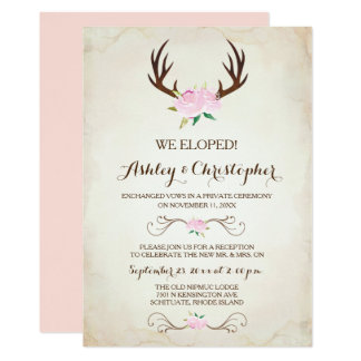 Pink We Got Married Invitation ~ Deer Antlers
