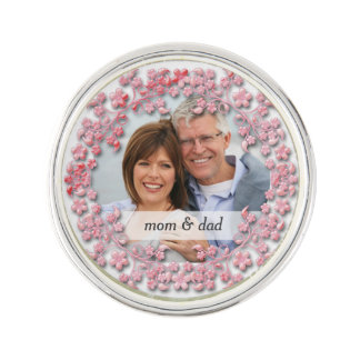 Pink Wedding Anniversary with a photo Lapel Pin