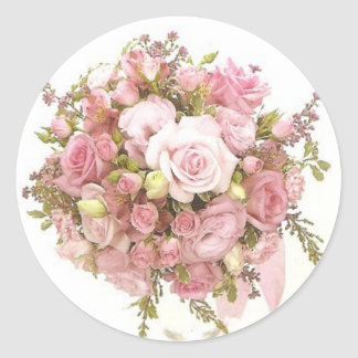 Pink Wedding Bouquet envelope Seal Stickers