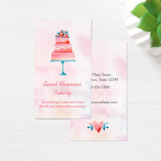 Pink Wedding Cake Bakery Business Card