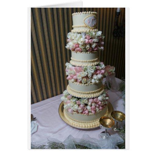 Pink Wedding Cake Greeting Card
