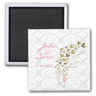 Pink Wedding Champagne Cheers Save-the-Date Magnet