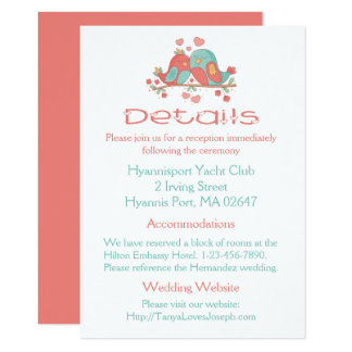 Pink Wedding Details Lovebird Blue Green Turquoise Card