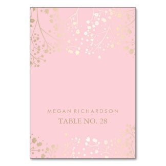 pink wedding escort cards baby's breath faux gold