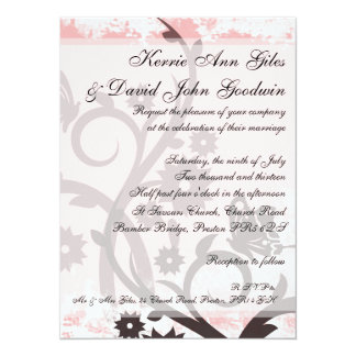 Pink Wedding Invitations - Butterflies and Flowers