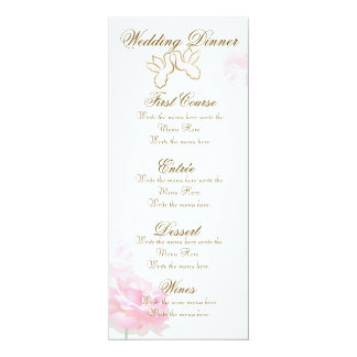 PINK WEDDING MENU |  LOVE BIRDS FLOWES SET CARD