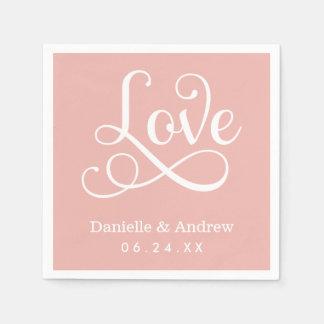 Pink Wedding Napkins | Love in White Script Disposable Napkin