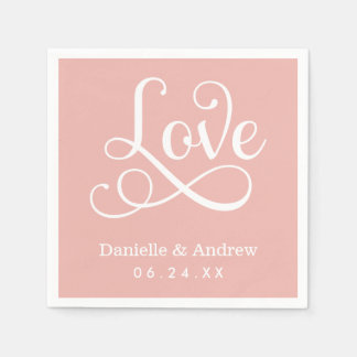 Pink Wedding Napkins | Love in White Script Paper Napkin