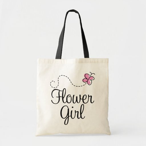 Pink Wedding Party Flower Girl Gift Tote Bag