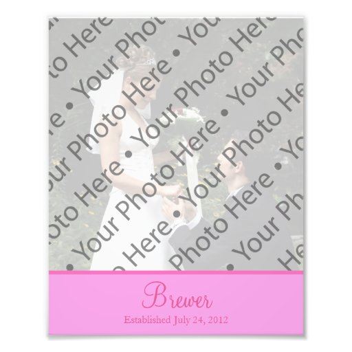 Pink Wedding Photo Prints with Custom Text Photo Art